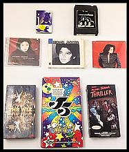MICHAEL JACKSON ASSORTMENT OF  MUSIC VIDEO COMPACT DISC TAPE AND 8TRACK