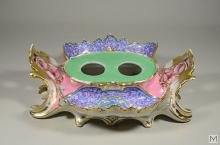 Antique French Rococo Floral Porcelain Inkstand