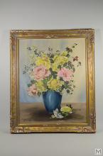 Caron Clay Oil on Board New York Flower Still Life
