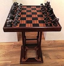 African Chess Set, bronze and wood set by Rip Caswell