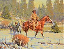 Meat for Supper, oil painting by R.E. Pierce