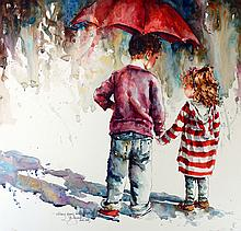 Skinny Jeans & Big Brothers, watercolor painting by Bev Jozwiak