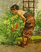 Erica in the Garden, oil painting by Sam Collett