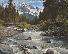 Ice Water - View of Mt. Hood From Ramona Falls, oil painting by Kasey A. Nixon
