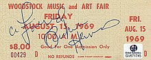 Richie Havens, autographed Woodstock ticket