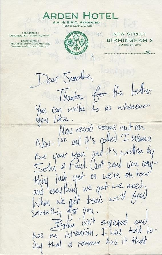 Keith Richards historic late 1963 personal letter to a fan
