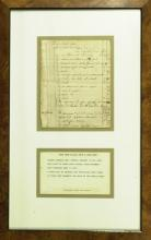 ANDREW JOHNSON - Ledger Page From His Tailor Shop