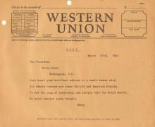 (FRANKLIN D ROOSEVELT) - Telegram From Harry Hopkins