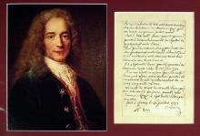 French Author, Historian VOLTAIRE - Letter Signed