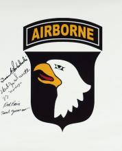 BAND of BROTHERS - 101st Logo Signed by Five
