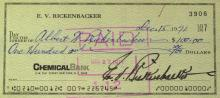 WWI Ace EDDIE RICKENBACKER - Check Signed