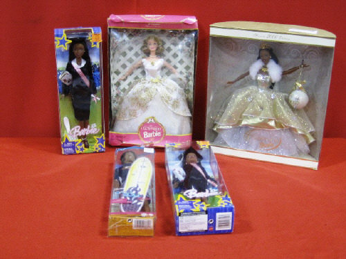 (Lot of 5) Collectible Barbie Dolls In Boxes (WC)