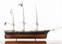 CASED SAILING SHIP MODEL ON STAND - American Clipper Ship 'Flying Fish', launched in Boston in 1852, builder Donald McKay, owner Sampson & Tappa, Captain Lauchlan McKay, length 198 ft, beam 38 ft. A full hull model wi.