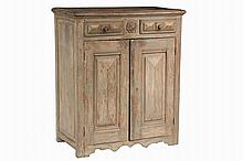 CANADIAN DIAMOND POINT CUPBOARD - 18th c. Country Cupboard in pine with remnants of pale grey paint, having molded overhanging top, two drawers over two doors, raised blossom medallion on small center drawer, flanked ...