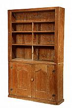COUNTRY CUPBOARD - 19th c. Pumpkin Pine Open Top Cupboard, having three shelves, two lower doors with molded and gabled panel doors, mushroom knob. 78