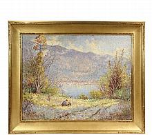 JAMES TAYLOR HARWOOD (UT/CA, 1860-1940) - 'Family Outing (Lake Garda, Italy)', oil on canvas, signed lower right 'J.T. Harwood' and dated '38. In matched corner water gilt Arts & Crafts frame, OS: 36