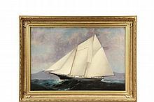 ATTRIBUTED TO ELISHA TAYLOR BAKER (CT/NY, 1827-1890) - American Merchant Schooner