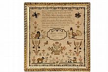 18TH C SAMPLER - Poetry and Menagerie Sampler in silk on fine linen, by Betsey Willett, aged 9, dated 1790, with cat and dog, lamb and deer, exotic birds, butterfly and moth, floral urns and vine blossom border