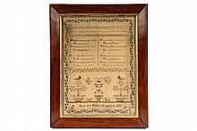 FRAMED SAMPLER - Alphabet and Poetry Sampler in silk on fine linen, by Mary Ann Whitworth, Aged 12, 1835
