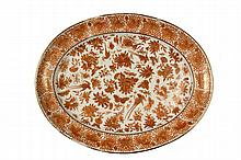 SCARCE CHINESE EXPORT PLATTER - An Unusual Chinese Export Orange Oval Dish in the Sacred Bird & Butterfly pattern, circa 1780-1820, featuring exotic birds and butterflies, gilt detailing, nice orange peel texture. 1 3...