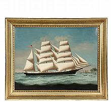 CHINA TRADE PAINTING - Ship's Portrait of Bark 'Martha Davis' (built 1873 in East Boston by Smith & Townsend), starboard profile under full sail, entering Hong Kong harbor with many out-of-scale craft ahead, European