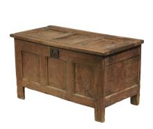 PILGRIM ERA OAK BLANKET CHEST - 17th c. Oak Chest, having recessed panel lid, front, sides and back, the lid with carved channels to the frame, the interior with a covered till (one pin hinge missing from lid), 22 1/2...