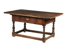 18TH C TAVERN TABLE WITH DRAWER - Long Table with three-plank top having breadboard ends, deep skirt with single drawer on the long side, single Chippendale brass butterfly escutcheon (missing bail), ring turned legs ...
