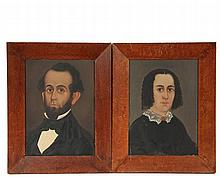 WILLIAM MATTHEW PRIOR (MA/ME, 1806-1873) - Pair of Portraits of Middle Aged Couple, oil on pine panels, unsigned, the subjects are probably from Bath, Maine; he with beard, she with hair in ringlets, circa 1850, in th...