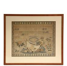 FRAMED SAMPLER - Alphabet and Pictorial Needlework, wool on linen, by Mary Dare, dated 1838, with five ranks of alphabets at top, a dog sitting in front of a tent in woodland below, a few scattered lovebirds, blossoms...
