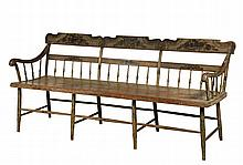 PENNSYLVANIA PARSONS BENCH - Paint Decorated Pennsylvania  Bench in moss green paint with gold and black fruit decorations on the triple shaped back, pinstriping elsewhere, intermediate back splats with five spindles ...