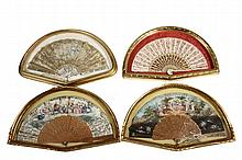 (4) FRAMED HAND FANS - 18th to early 19th c
