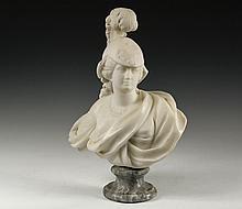 MARBLE SCULPTURE - Bust of Athena, Greek Goddess of Wisdom and War, in Carrara marble, on a veined grey socle, unsigned, late 19th c, probably Italian, roughly 19