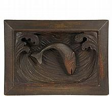 LEANDER A. PLUMMER (MA, 1857-1914) - Deep Relief Panel of a Trout leaping between curling waves, in carved pine with integral reverse mitered frame, unsigned, circa 1900, OS: 16 3/4
