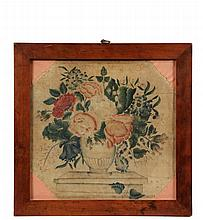 FRAMED THEOREM - 19th c. Theoem on Velvet of an urn full of flowers, in vintage mahogany box frame, under glass, the corners filled with pink fabric, OS: 17