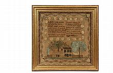 FRAMED AMERICAN SAMPLER - Poetry Sampler with Georgian house set between trees and picket fence, silk on linen, marked