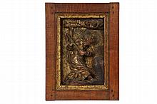 GOTHIC GILT RELIEF PANEL - 15th c. Flemish Bas-relief Architectural Panel depicting Moses striking the rock to provide water for the Israelites, cherubs in clouds overhead, in carved walnut with water gilding, the han...