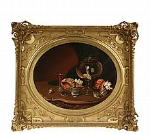 VICTORIAN STILL LIFE - Tabletop Arrangement of Sea Shells, a Goldfish Bowl and a Glass of Wine, oil on canvas, unsigned, circa 1870, oval format in magnificent oblong gilt gesso frame, OS: 33