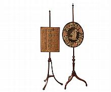 (2) POLE SCREENS - Early 19th c. Mahogany Pole Screens with adjustable needlepoint faces, including: Oval Screen with Chipmunk and Floral Wreath, with urn finial and urn turned column, on three tapered square cyma cur...
