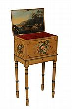 IMPORTANT ENGLISH SHERATON PAINTED BOX ON STAND - Lady's Sewing Box, circa 1810, in mustard yellow ground, hand painted with fine floral bouquets within pinstripe frames on top, front and sides, the hinged lid with ri..