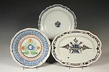 (3) FRENCH FAIENCE CHARGERS - Including: 18th c. Rouen Cul Noir Oval Platter with floral basket motif in black and blue on white, 1 3/4