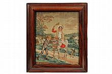 FRAMED ENGLISH STITCHWORK - Regency Period Needlework, wool on silk, circa 1820, a depiction of a young boy calming a burro that has a young lady in her Sunday finest riding on its back, dog alongside, figure with sec...