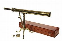 CASED ENGLISH LIBRARY TELESCOPE - Unmarked 19th c