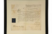 NAPOLEONIC WARS ROYAL NAVY COMMISSION - Captain William Roberts is named to command the HMS Castor on 17th Sept, 1809, signed by Admiral Sir Richard Bickerton (1759-1832), as Lord of the Admiralty, and by Vice Admiral...