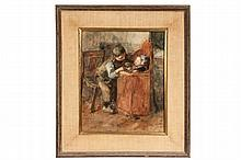 JACOB SIMON HENDRIK (AKA HEIN) KEVER (Netherlands, 1854-1922) - Young Boy Feeding Infant Brother in Highchair, watercolor on paper, signed lower right