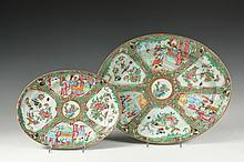 (2) CHINESE EXPORT PLATTERS - 19th c. Oval Graduated Rose Medallion Serving Platters, with alternating panels of domestic scenes and exotic birds with blossoms, gilt background to borders, 1 1/2