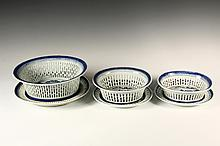 (6) CHINESE EXPORT SERVING PIECES - 18th/19th c. Canton Porcelain, in Blue Willow pattern, including: Set of Three Graduated Chestnut Baskets with Matching Underplates, all reticulated, ranging in size from 5