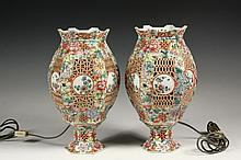 PAIR OF CHINESE PORCELAIN MANTEL LAMPS - Two-Part Electric Lanterns, mid 20th c