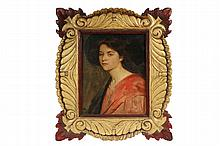 DOUGLAS VOLK (NY/MN/ME/MA, 1856-1935) - Portrait of the Artist's Daughter, Marion Volk Bridges, oil on linen, signed lower left, circa 1905, in a hand carved gilt and painted frame by his son Wendell Volk, signed vers..
