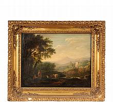 ITALIAN PASTORAL SCENE - River Landscape with Castle and Herdsman's Family, circa 1800, oil on canvas, unsigned, in original ornate gold gesso frame, OS: 20 1/2