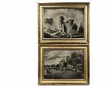(2) NEW ENGLAND SANDPAPER DRAWINGS - Folk Art Fantasy Landscapes, chiaroscuro chalk on fine sandpaper, one depicting castle ruins, the other of a classical lakeside estate, unsigned, circa 1820, in the original lemon ...